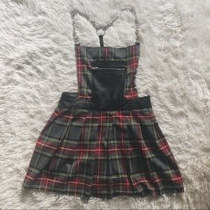 Dolls Kill black red grey plaid mini dress